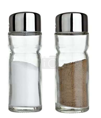 Photo for Close up of salt and pepper on white background - Royalty Free Image