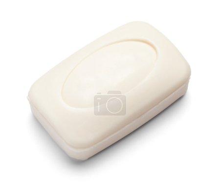 Photo pour Gros plan d'un savon hygiénique sur fond blanc avec chemin de coupe - image libre de droit