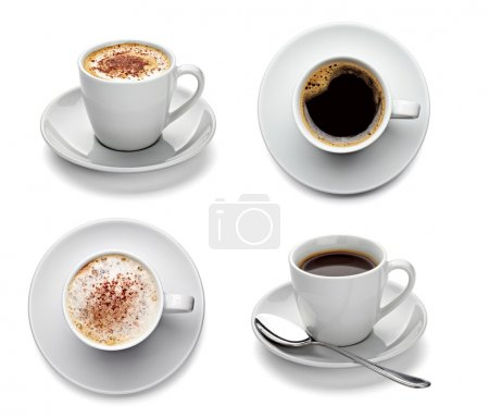 Collection of various coffee cups on white backgro...