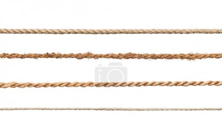 Photo for Collection of various ropes on white background. each one is shot separately - Royalty Free Image