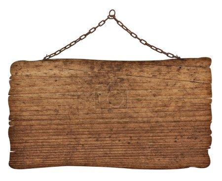 Photo pour Gros plan d'un panneau en bois vide sur fond blanc - image libre de droit