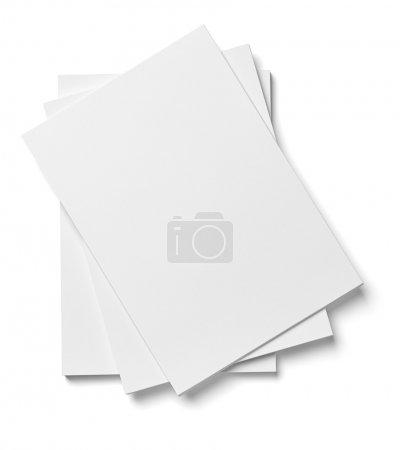 Photo pour Gros plan d'une pile de feuilles sur fond blanc - image libre de droit