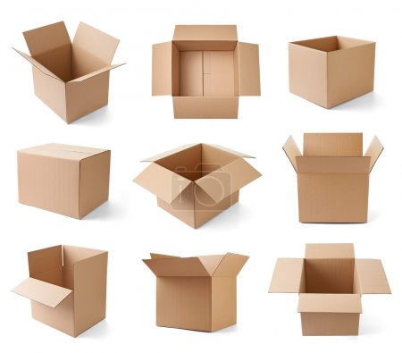 Photo for Collection of various cardboard boxes on white background. each one is shot separately - Royalty Free Image