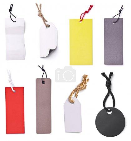 Photo pour Collection d'étiquettes de prix vierges sur fond blanc. chacun est tiré séparément - image libre de droit