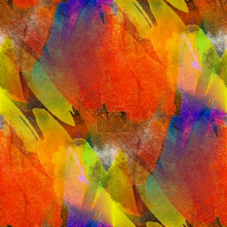 seamless painting orange red yellow watercolor blue with bright
