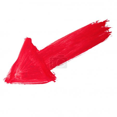 Photo for Paint brush red arrow pointer watercolor texture stroke color isolated on white background - Royalty Free Image