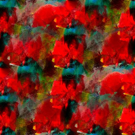 Abstract seamless red blue hand painted watercolor background