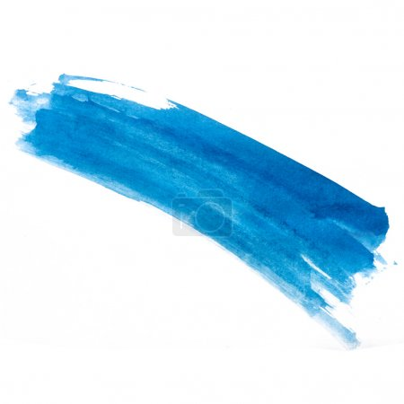 stroke blue strip paint brush color watercolor isolated on white