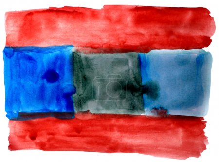 Photo pour Art aquarelle bleu rouge isolé sur blanc pour votre conception - image libre de droit