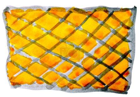 Photo pour Art aquarelle jaune gris grille isolé sur blanc pour votre conception - image libre de droit