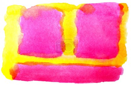 Photo pour Aquarelle jaune rose isolé sur blanc pour votre conception - image libre de droit