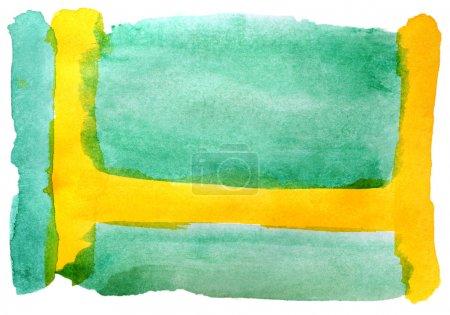 Photo pour Aquarelle rond vert jaune isolé sur blanc pour votre conception - image libre de droit