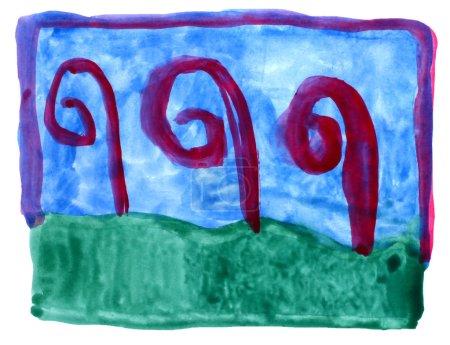 Photo pour Vert, aquarelle d'ornement art bleu, isolé pour votre conception - image libre de droit