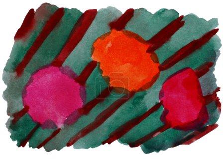 Photo pour Aquarelle d'avant-garde orange vert art isolé pour votre conception - image libre de droit