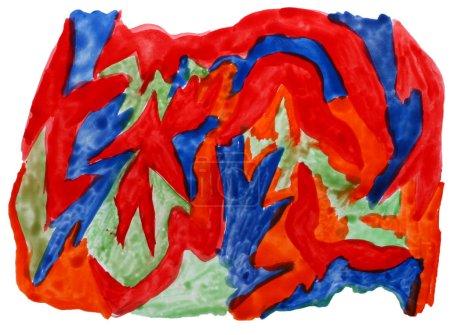 Photo pour Aquarelle de vert bleu art rouge isolé pour votre conception - image libre de droit