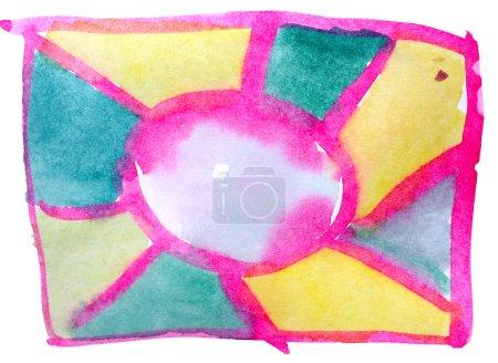 Photo pour Tableau jaune vert graphique AVC peinture Pinceau aquarelle isolé - image libre de droit