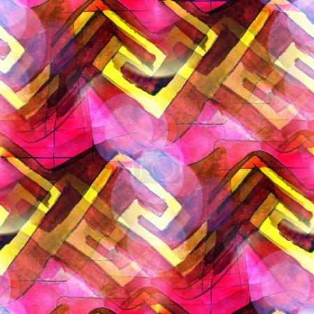 Photo pour Macro taches de soleil rose, jaune, ornement aquarelle texture transparente papier peint peinture - image libre de droit