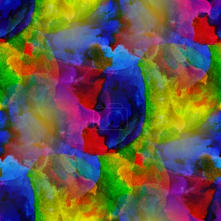 Artist blue green red watercolor background, art seamless paint