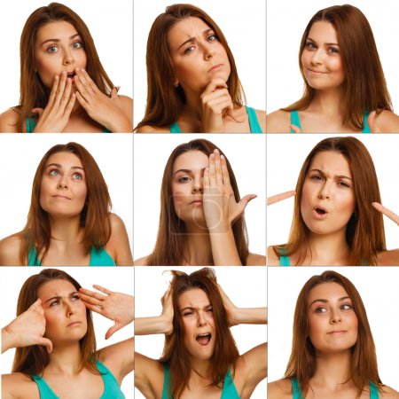 Woman experiencing emotions set collection