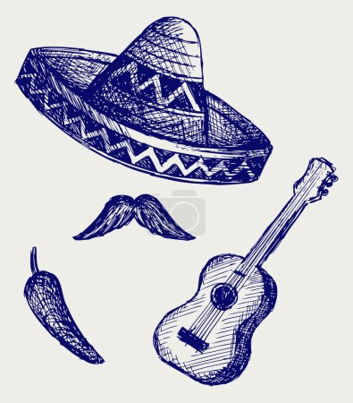 Photo for Mexican Symbols. Doodle style - Royalty Free Image