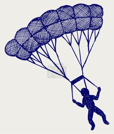 Illustration for Man jumping with parachute. Doodle style - Royalty Free Image