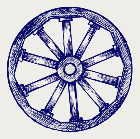 Illustration for Wooden wheel. Doodle style - Royalty Free Image