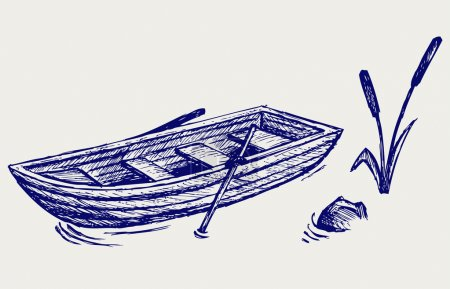 Illustration for Wooden boat with paddles. Doodle style - Royalty Free Image