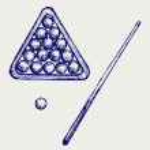Illustration of billard cues and balls. Doodle sty...