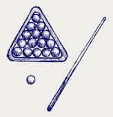 Illustration of billard cues and balls