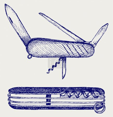 Illustration for Swiss army knife. Doodle style - Royalty Free Image