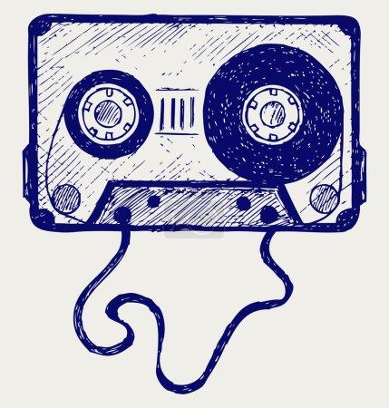 Audio cassette tape. Doodle style...