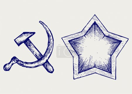 Illustration for Soviet star icon. Doodle style - Royalty Free Image