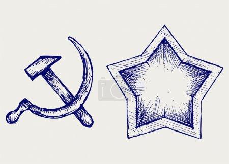 Illustration pour Icône étoile soviétique. Style caniche - image libre de droit