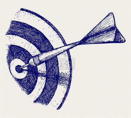Illustration pour Flèche dans la cible. Style caniche - image libre de droit