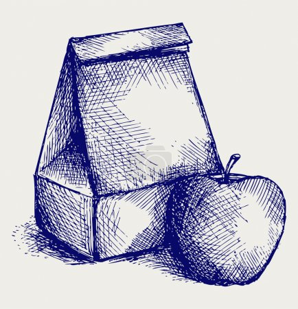 Illustration for School lunch. Paper bag and apple. Doodle style - Royalty Free Image