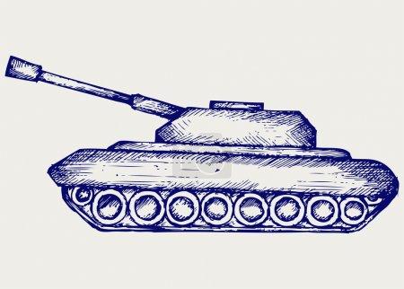 Illustration pour Char de combat principal. Style caniche - image libre de droit