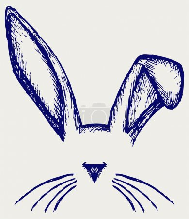 Illustration for Easter bunny ears. Doodle style - Royalty Free Image