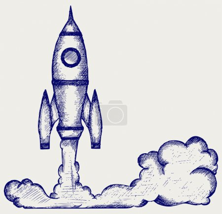 Illustration for Retro rocket. Doodle style - Royalty Free Image