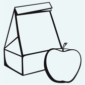 Paper bag and apple