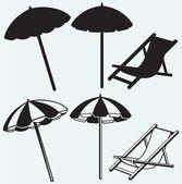 Chair and beach umbrella