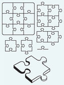 Various puzzle isolated on blue background