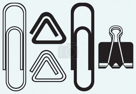 Illustration for Paper clip isolated on blue background - Royalty Free Image