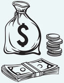 Stack dollars banknotes moneybag and coins