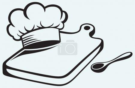 Illustration pour Cuisiner. Planche à découper, chapeau de chef et cuillère isolés sur fond bleu - image libre de droit
