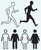 Man and woman icon Running man