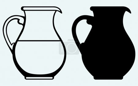 Vintage pitcher. Image isolated on blue background...