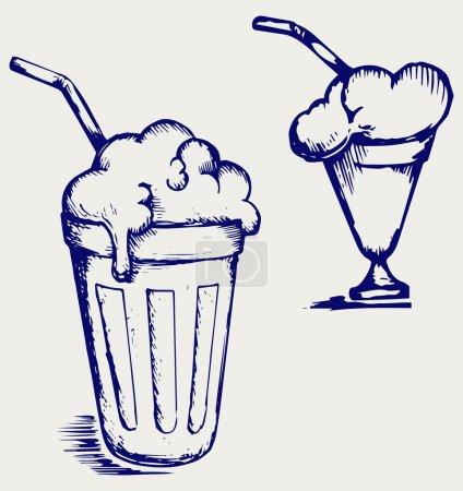 Milk shake. Doodle style...