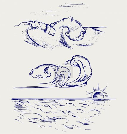 Illustration for Beautiful Ocean Wave. Doodle style - Royalty Free Image