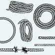 Nautical rope knots. Isolated on blue background...