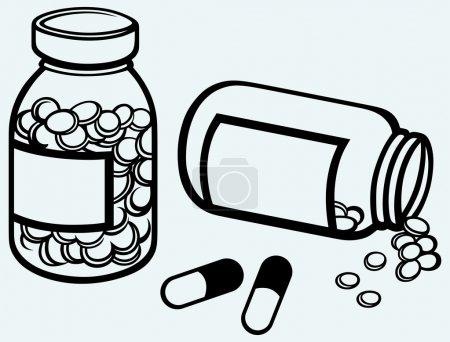Illustration pour Bouteille. Renverser des pilules sur la surface. Isolé sur fond bleu - image libre de droit